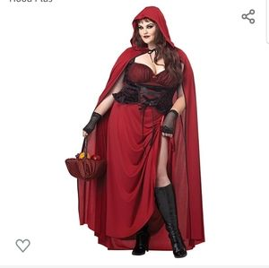 Women's plus size dark red riding hood plus